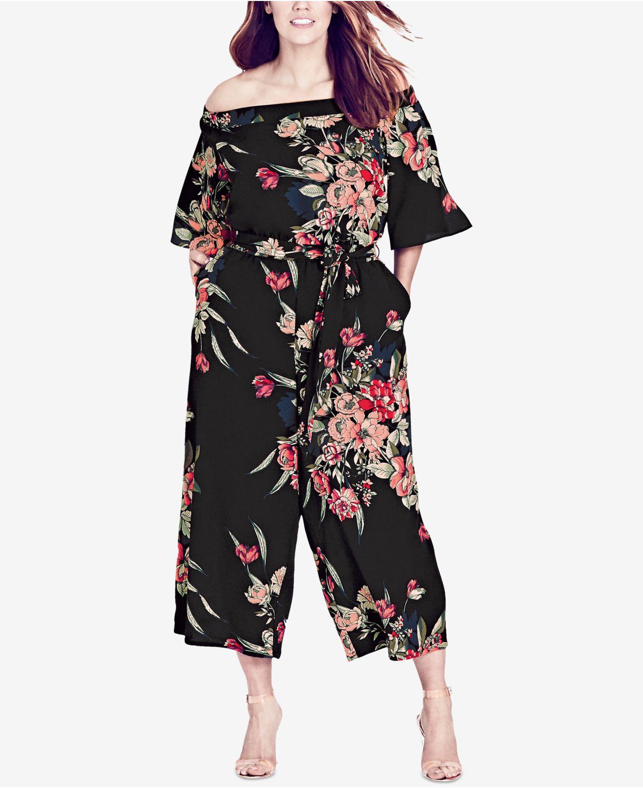 ff4f24f54fc2d City Chic Trendy Plus Size Off-the-shoulder Jumpsuit in Black - Save ...