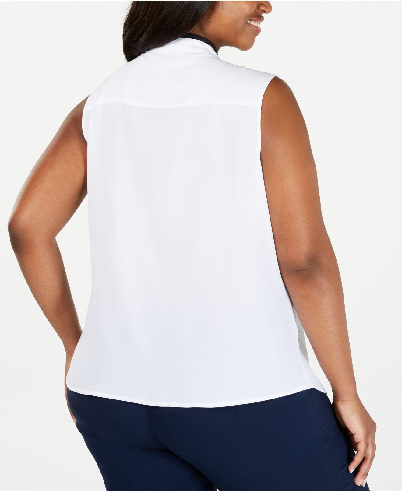 8f1f0cbda Lyst - Calvin Klein Plus Size Ruffled-front Top in White