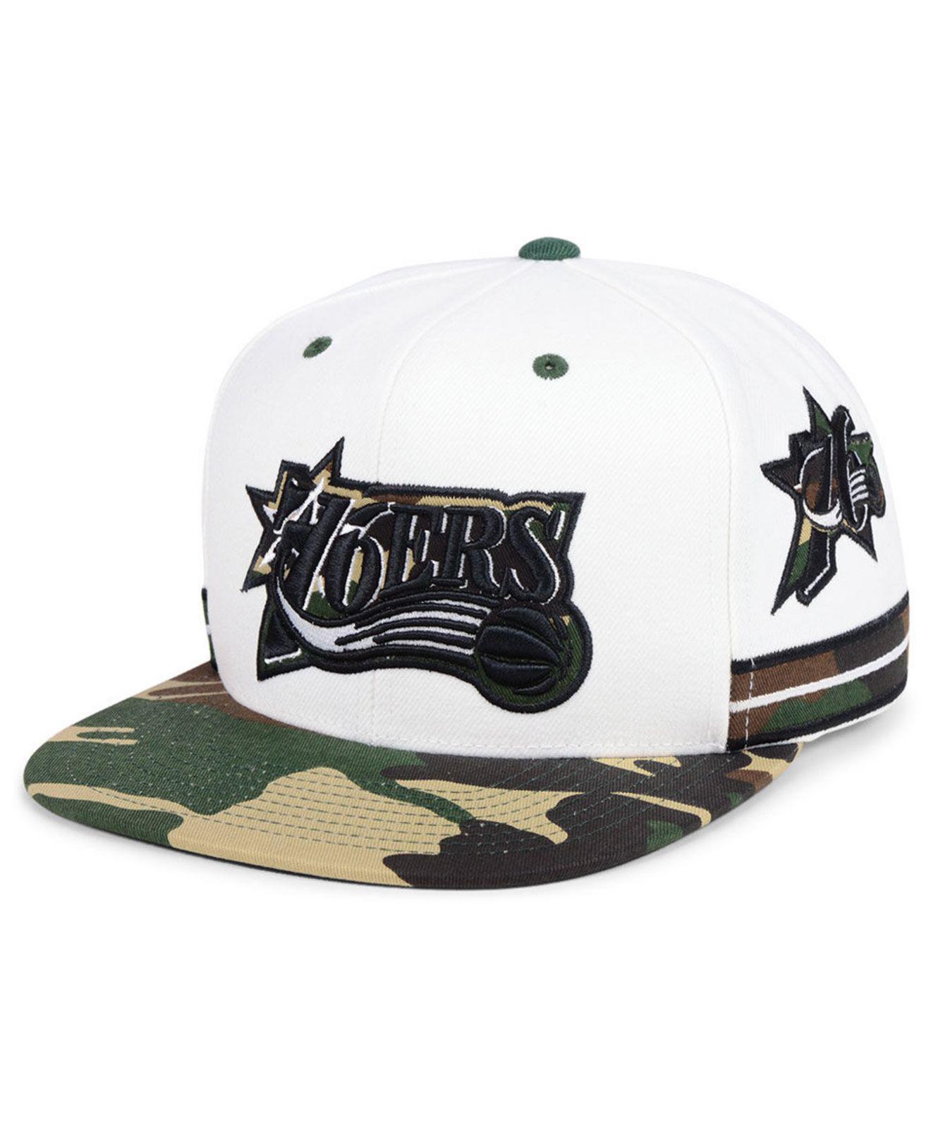 b1c804ef3ff Mitchell   Ness. Men s White Philadelphia 76ers Straight Fire Camo Hook  Snapback Cap
