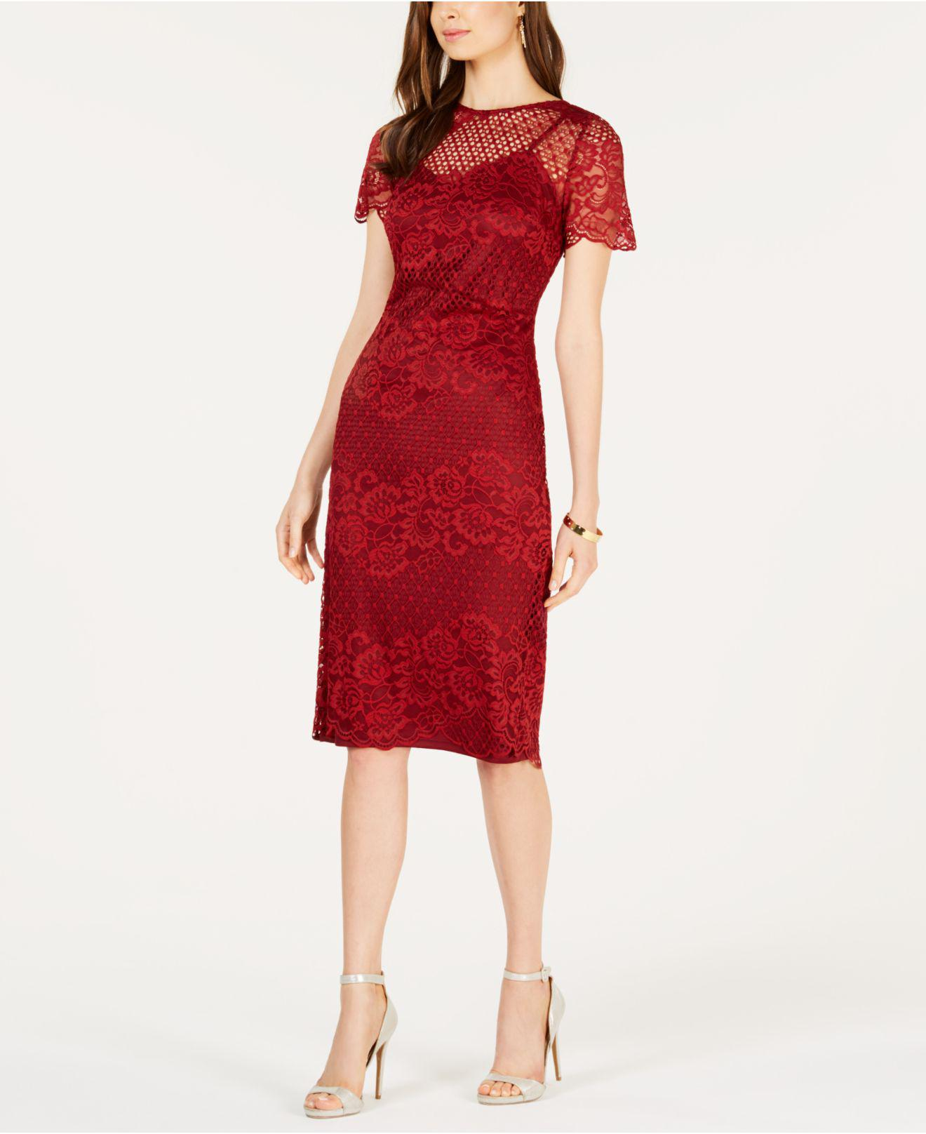 e52715c8 Donna Ricco Lace Dress in Red - Lyst