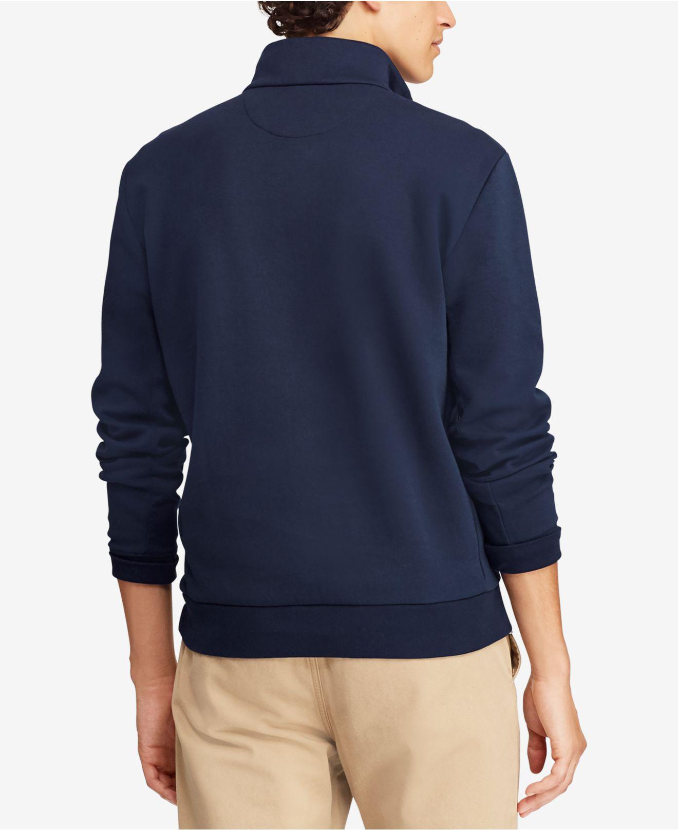 4a757e045e48 Lyst - Polo Ralph Lauren Double-knit Half-zip Pullover in Blue for Men