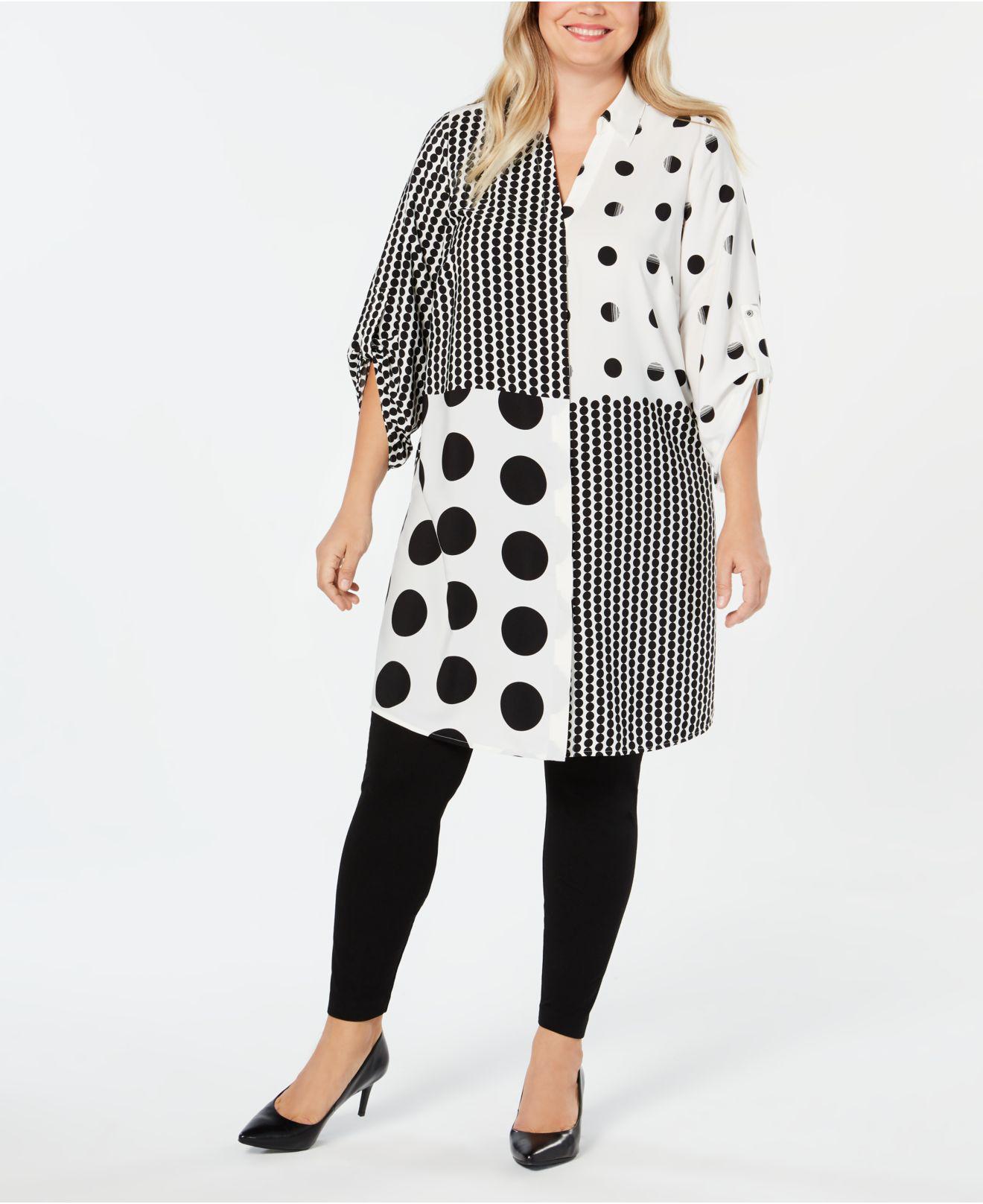 da97d66363c Alfani. Women s Black Plus Size Mixed-print Super Tunic ...