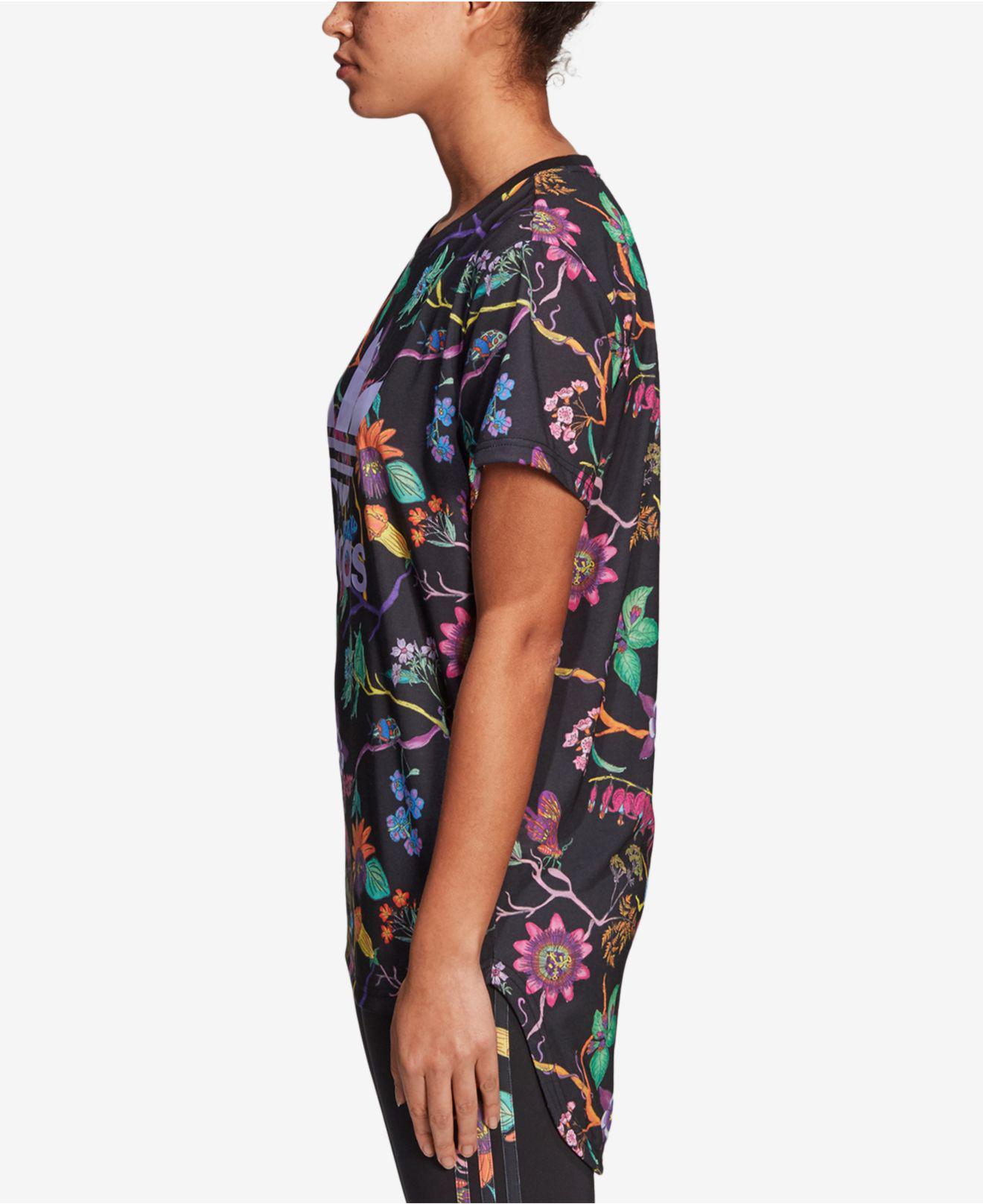 Lyst adidas Originals jardin impreso larga camiseta en negro