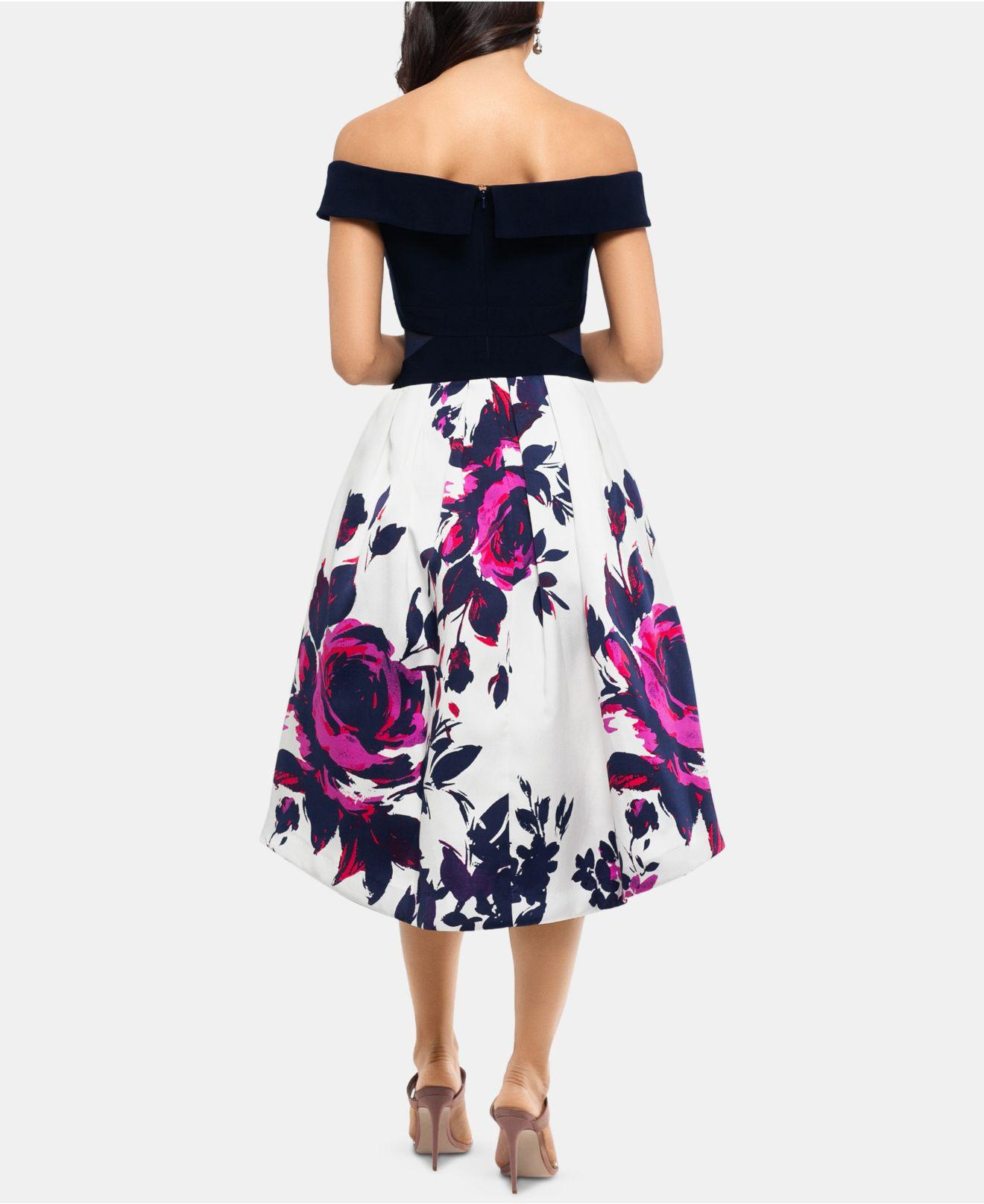 1f48d0224fb Xscape Off-the-shoulder Floral-skirt Dress in Blue - Lyst