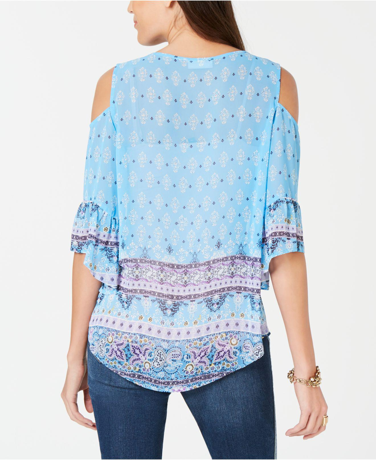 f08944697afd9 Lyst - Style   Co. Printed Cold-shoulder Top