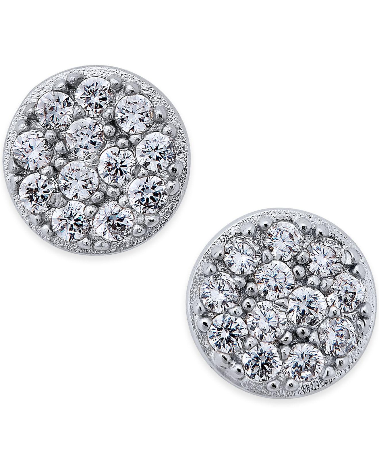 earrings czrm cut dp com amazon silver zirconia prong stud cubic tone magnetic round jewelry clear in