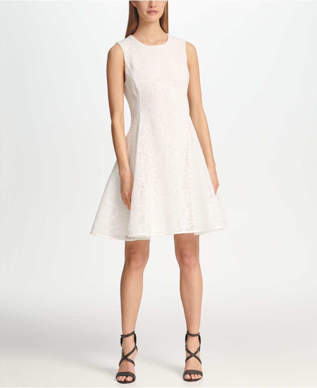 4336f43533 DKNY Textured Mesh Fit   Flare Dress in White - Lyst