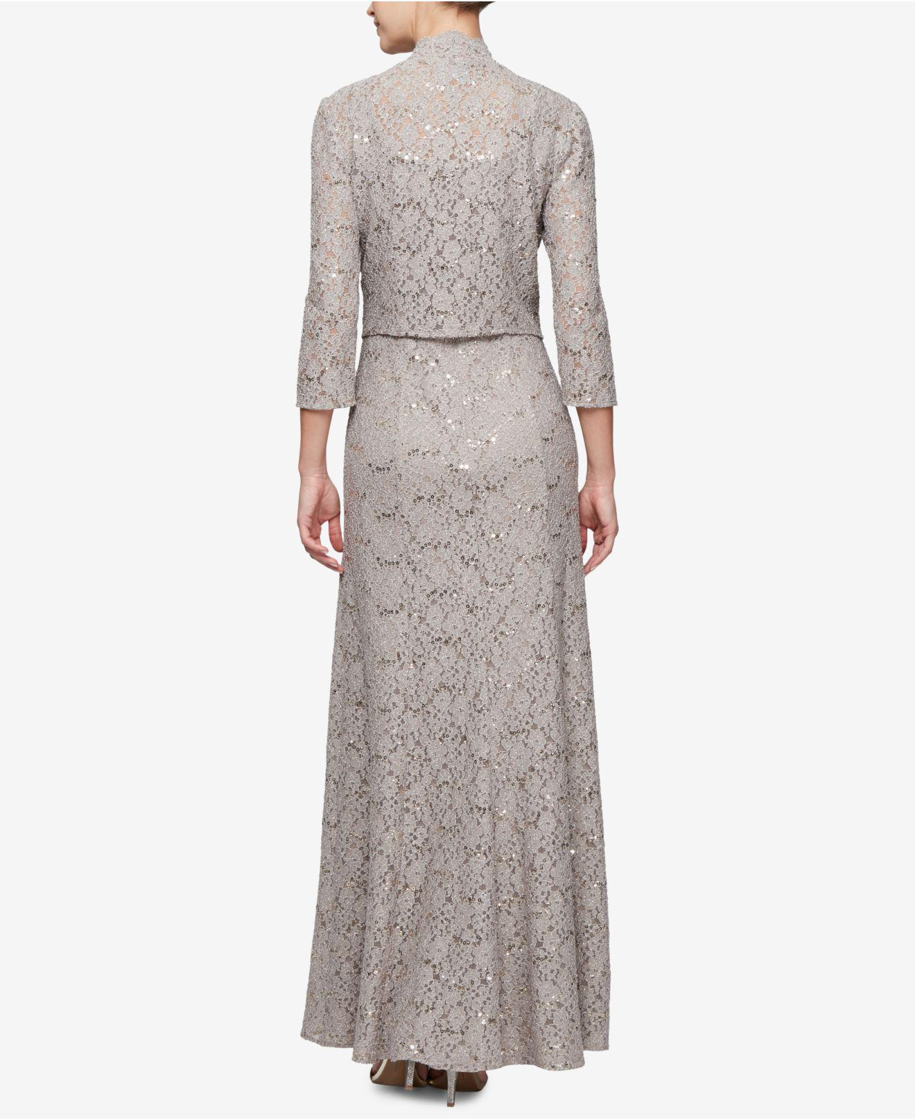 3aa473445a Lyst - Alex Evenings Sequined Lace Gown   Jacket