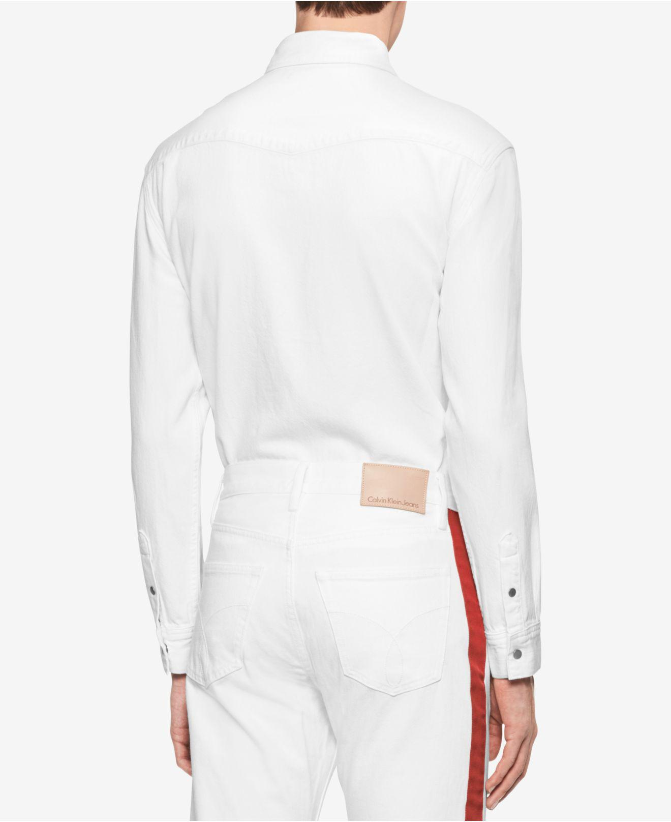 70a0a2c9a1f Lyst - Calvin Klein Archive Contrast Pocket Western Shirt in White ...