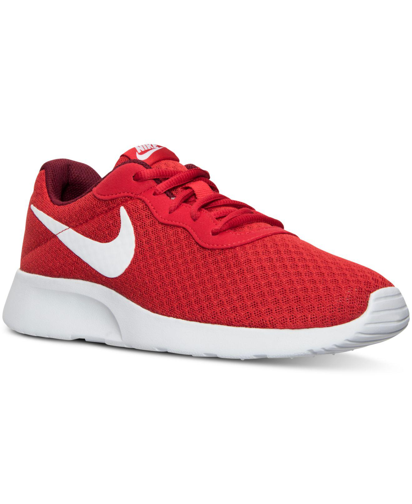 Nike. Men's Red Tanjun Casual Sneakers From Finish Line