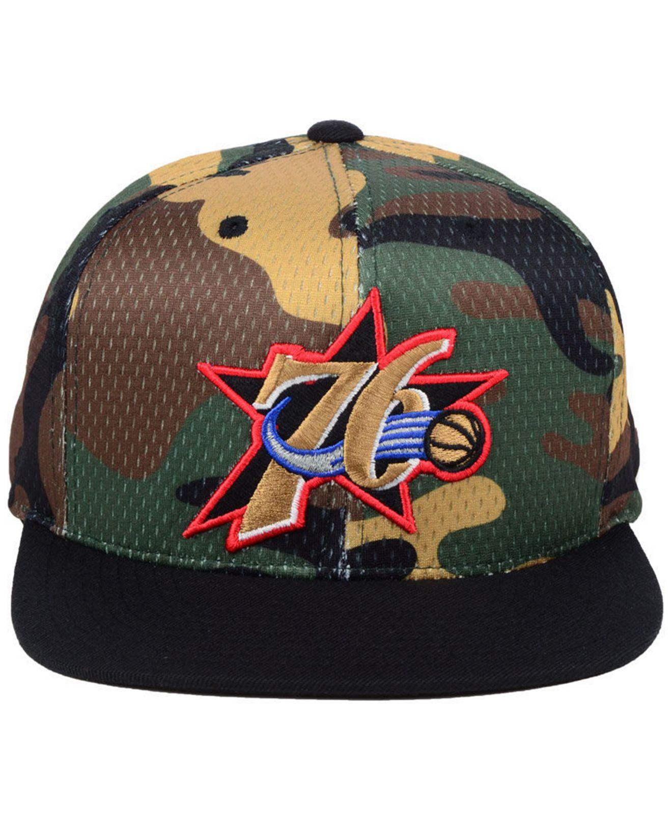 6d176e97d93c8 Lyst - Mitchell   Ness Philadelphia 76ers Woodland Camo Hook Snapback Cap  for Men