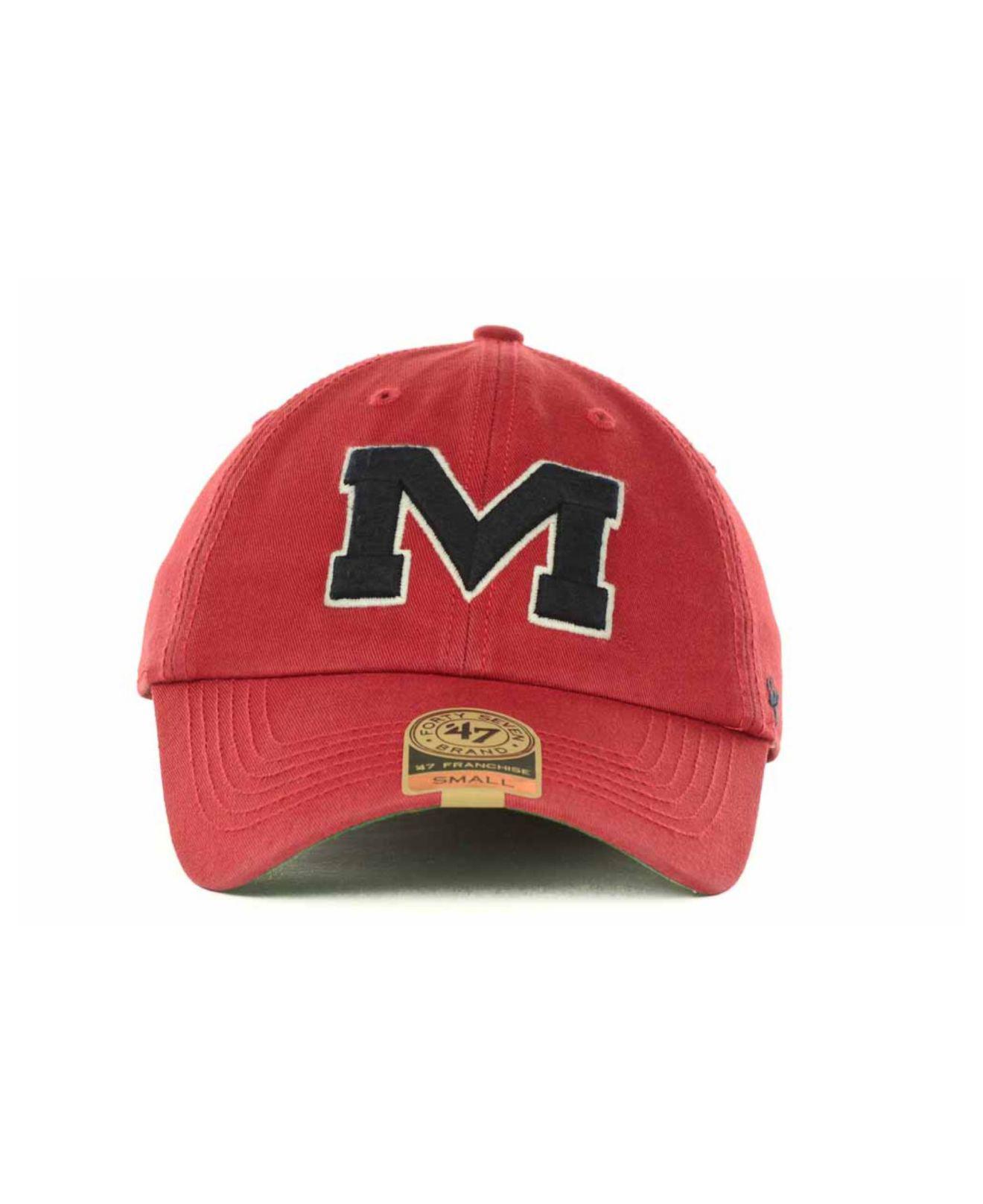 38836e951c949 ... ole miss rebels core trucker hat 16df9 66bfe  cheap lyst 47 brand mississippi  rebels franchise cap in red for men e2bcc da098
