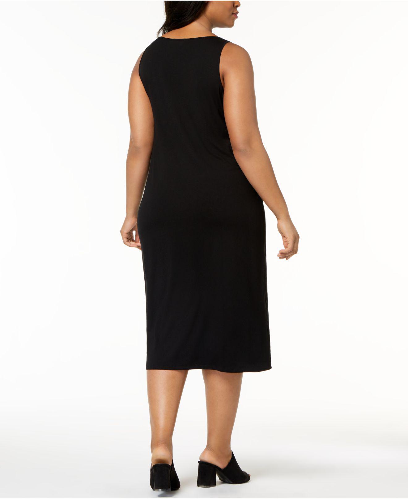 ce29fd71de Lyst - Eileen Fisher Plus Size System Sleeveless Stretch Jersey Midi Dress  in Black