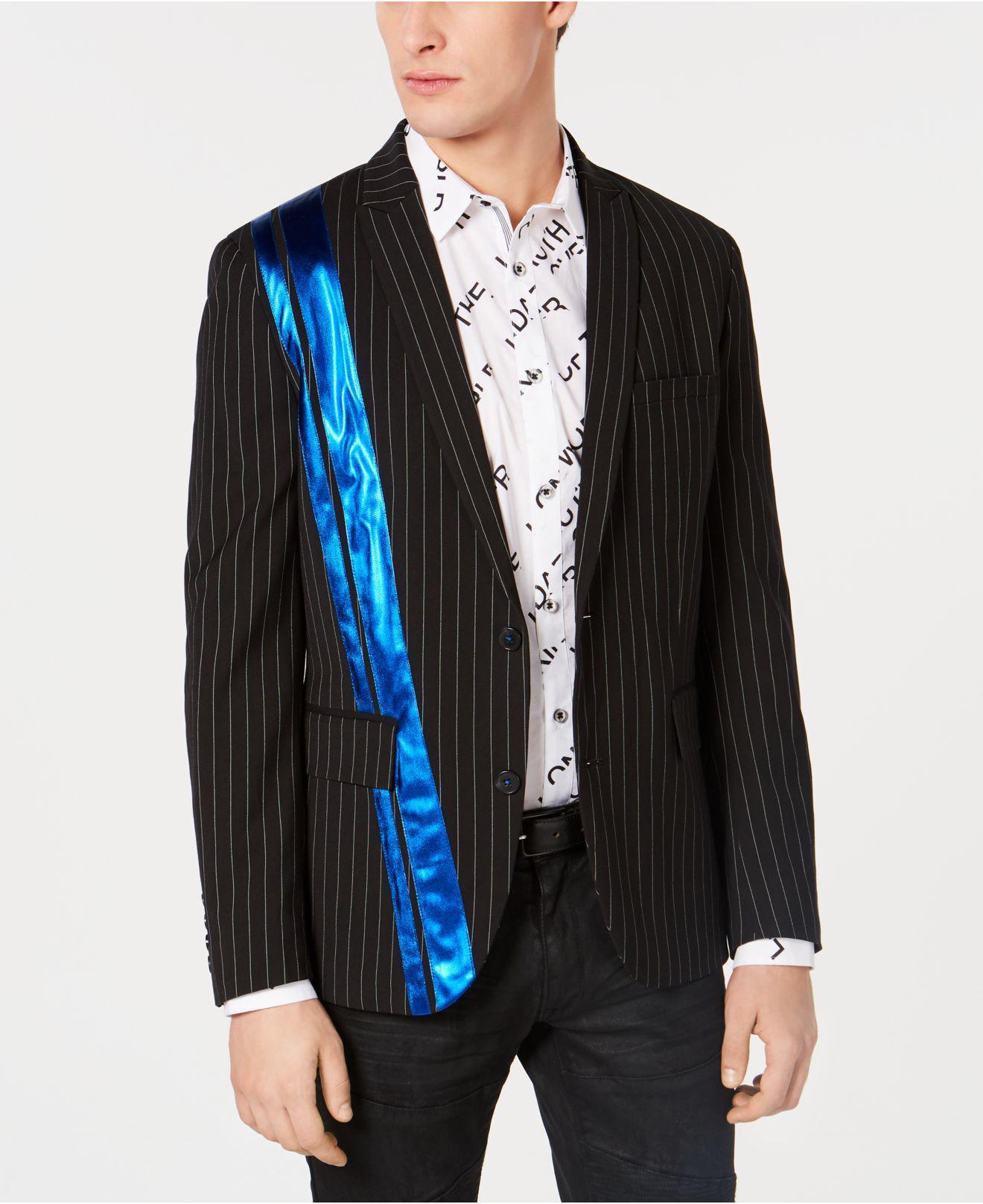 47a438a46a8a INC International Concepts. Men s Black Slim-fit Pinstriped Pieced Blazer  ...