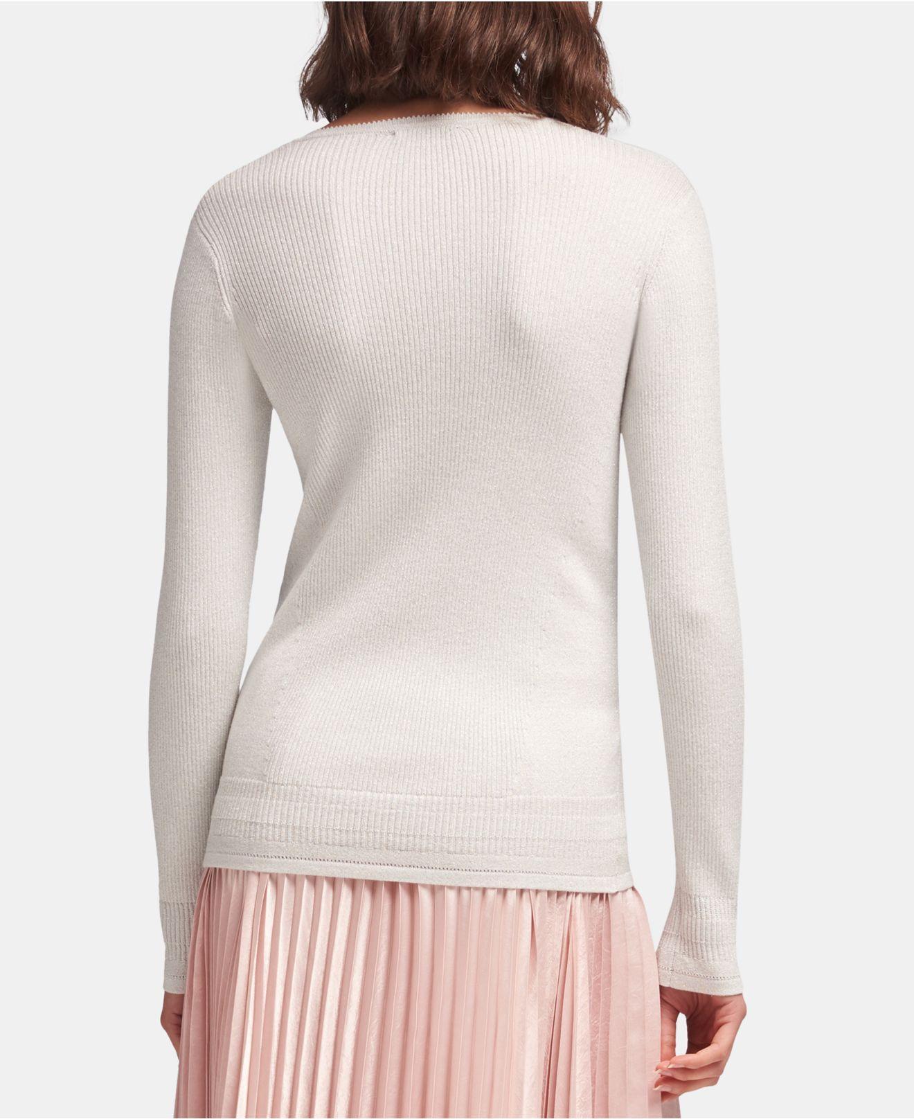 8d4717dd76a Lyst - DKNY Rhinestone V-neck Sweater in White