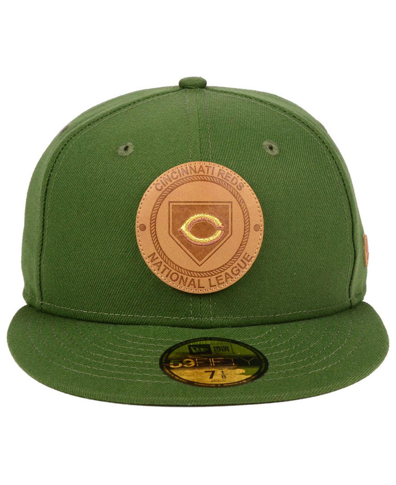 d23cbb23d83 Lyst - KTZ Cincinnati Reds Vintage Olive 59fifty Fitted Cap in Green ...