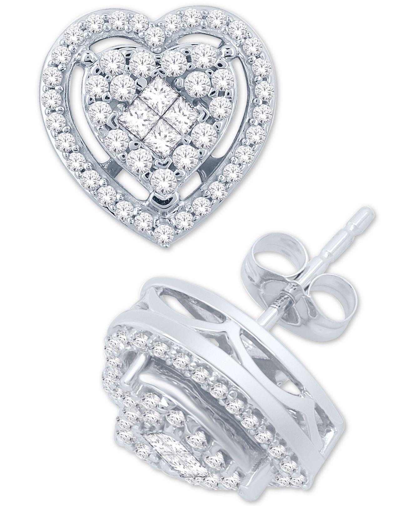 1e168cc78 Macy's Diamond Heart Cluster Stud Earrings (1/2 Ct. T.w.) In 14k White Gold  in Metallic - Lyst