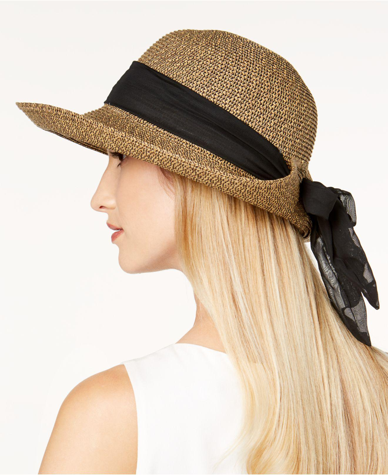 f0b0eea8d9f Nine West - Multicolor Packable Bow Scarf Floppy Sun Hat - Lyst. View  fullscreen
