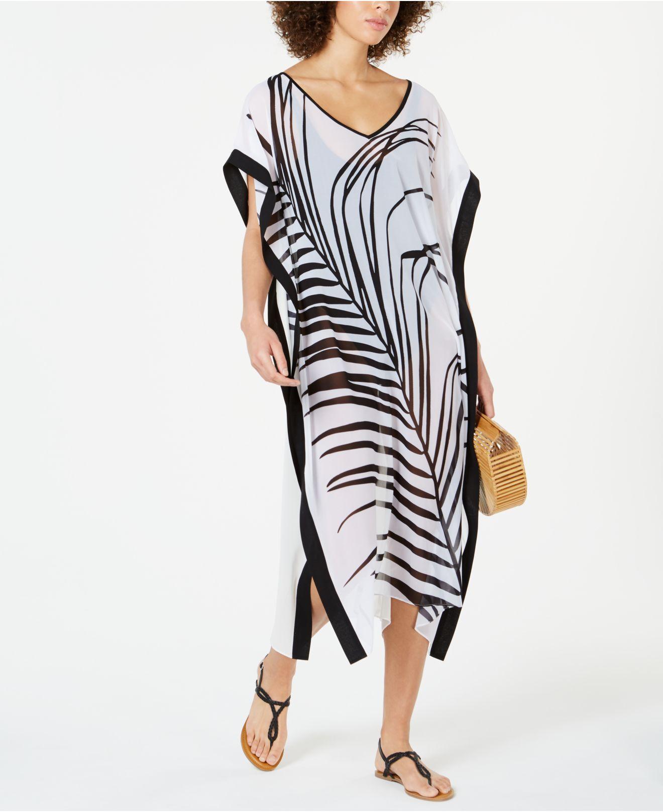9f0ae130e1 Calvin Klein - White Printed Kaftan Cover-up - Lyst. View fullscreen