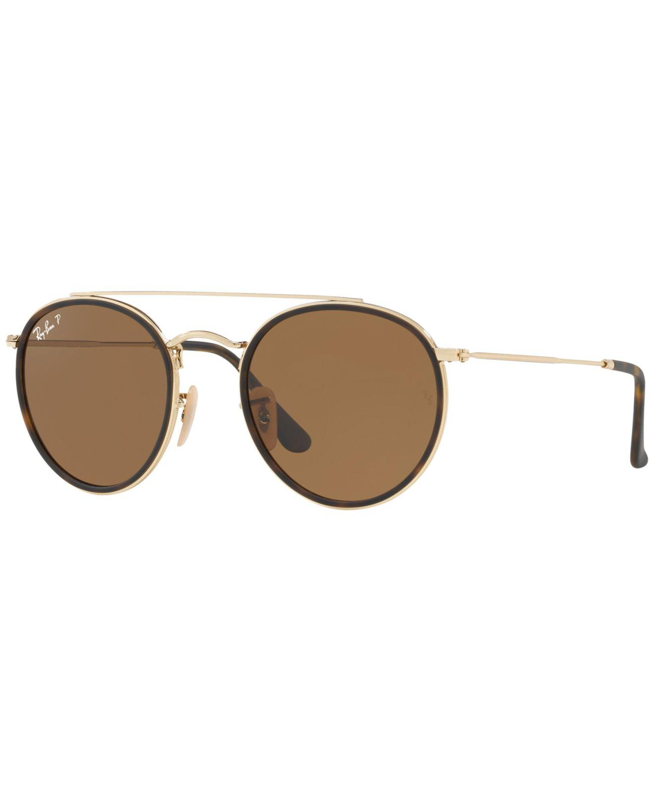 254fd01d43 Lyst - Ray-Ban Rb3647n Polarised Double Bridge Round Sunglasses in ...