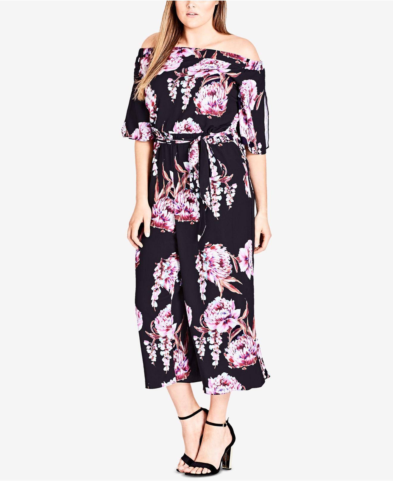 7819c9e619b Lyst - City Chic Trendy Plus Size Printed Off-the-shoulder Jumpsuit ...