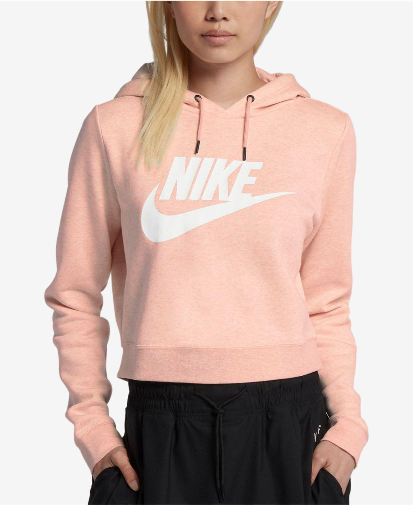 f76f0bc367d32 Lyst - Nike Sportswear Rally Women s Cropped Hoodie in Pink - Save 60%