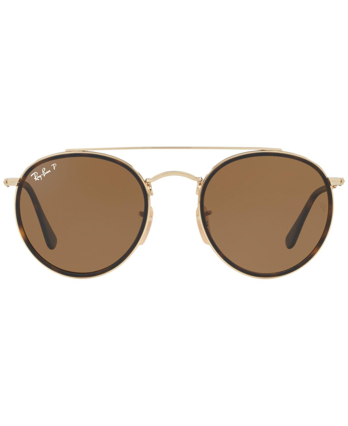 4b34cfb04342 Lyst - Ray-Ban Rb3647n Polarised Double Bridge Round Sunglasses in Brown  for Men - Save 1%