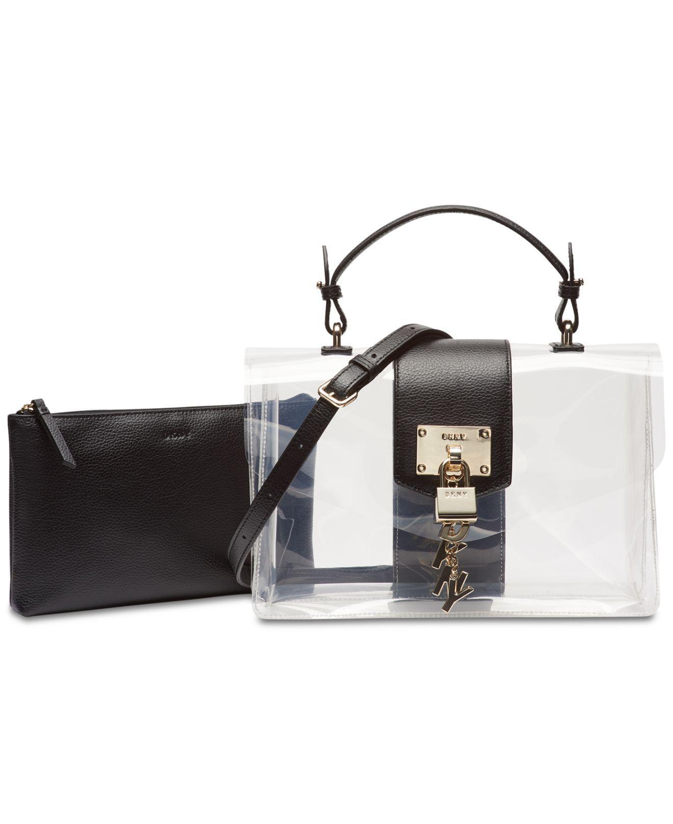 b59203c2c124 DKNY. Women s Black Elissa Flap Clear Shoulder Bag ...