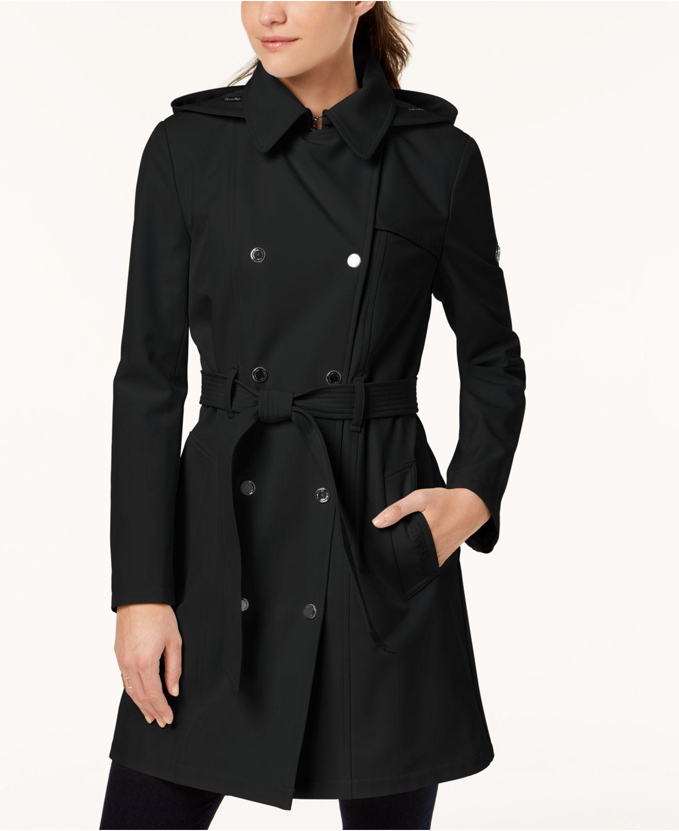 98814d36261 Lyst - Calvin Klein Hooded Double-breasted Trench Coat in Black ...