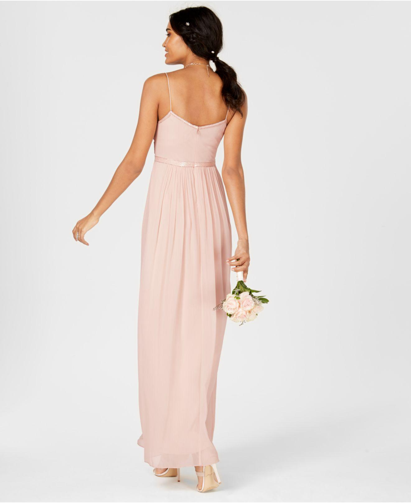 822ae24c9b Lyst - Adrianna Papell Beaded Chiffon Gown in Pink - Save 17%