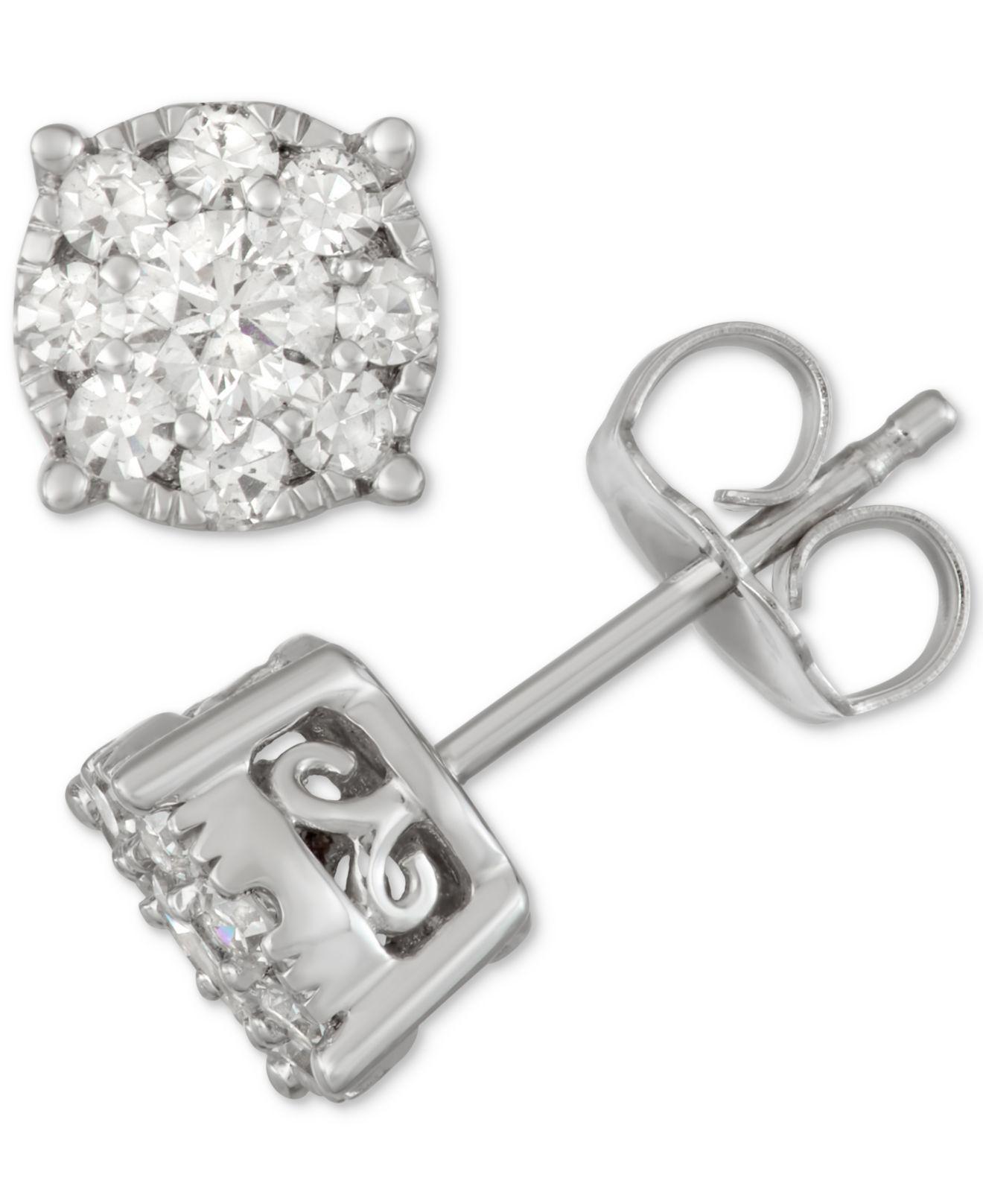 9c14120f3 Macy's - Multicolor Diamond Cluster Stud Earrings (1/2 Ct. T.w.) In. View  fullscreen