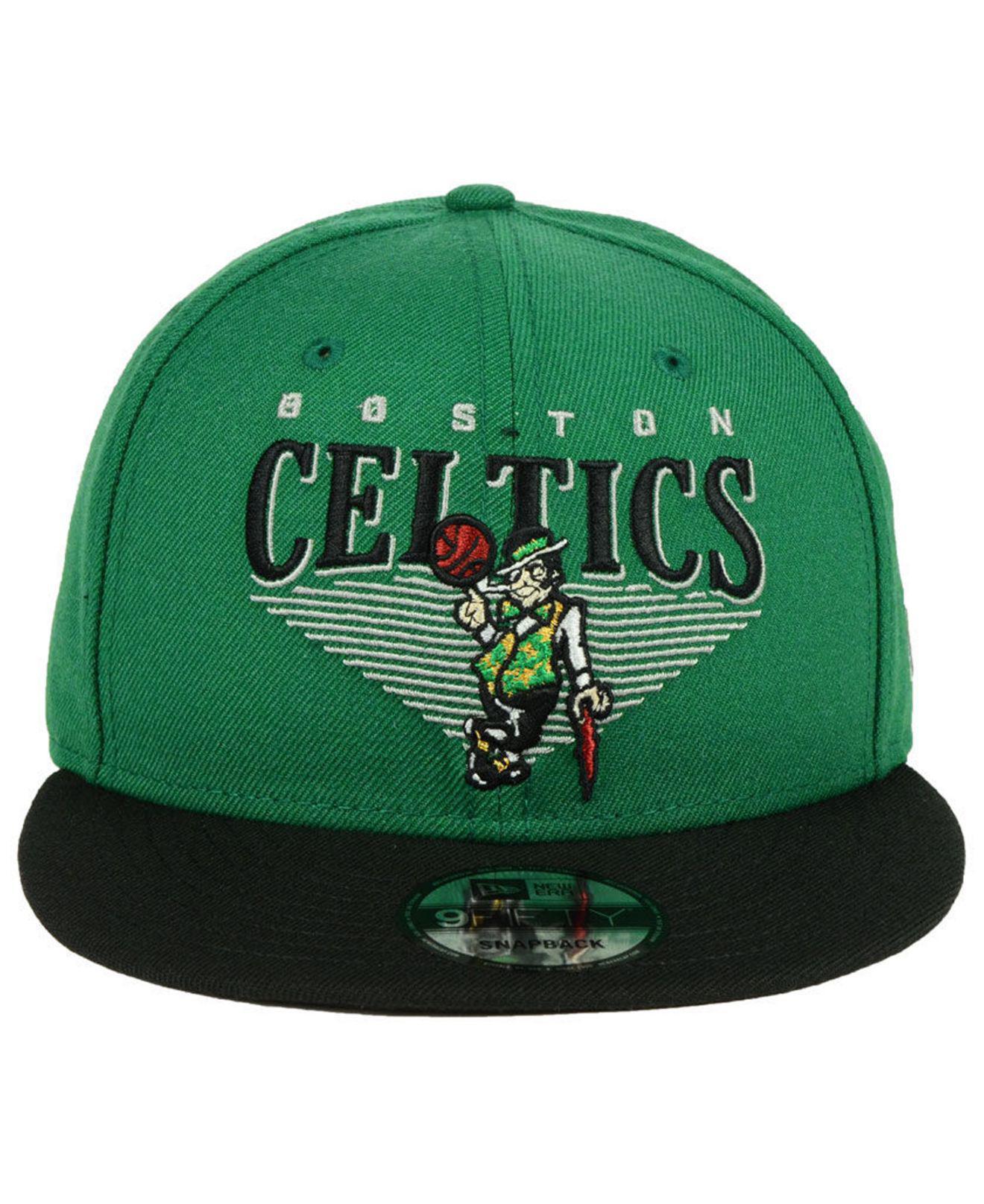 3a376fa9ba6ba7 ... coupon code for lyst ktz boston celtics retro triangle 9fifty snapback  cap in green for men