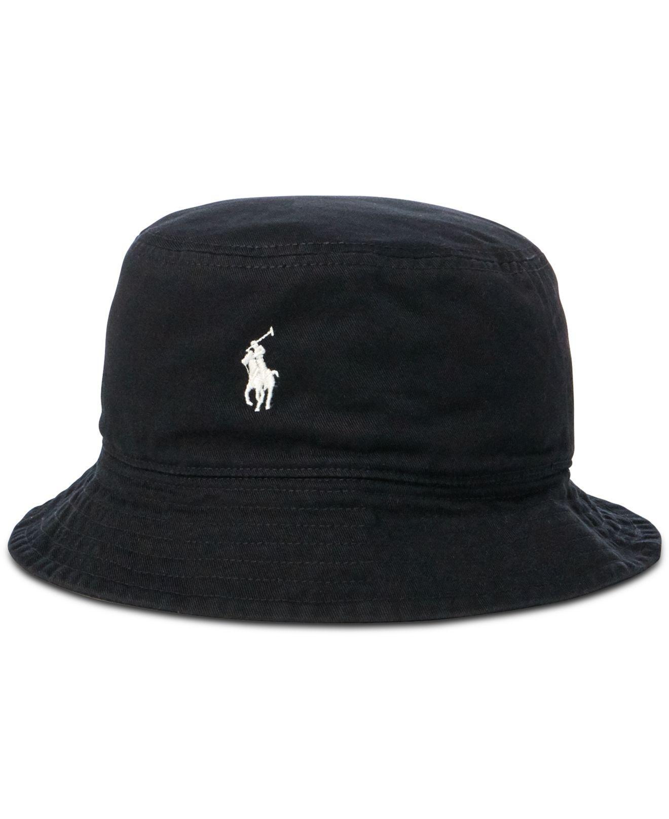 21ad35db016 Lyst - Polo Ralph Lauren Reversible Twill Bucket Hat in Black for Men