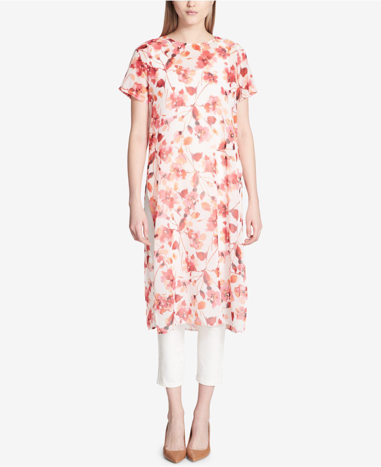 b33389a895a Lyst - Calvin Klein Sheer Printed Tunic