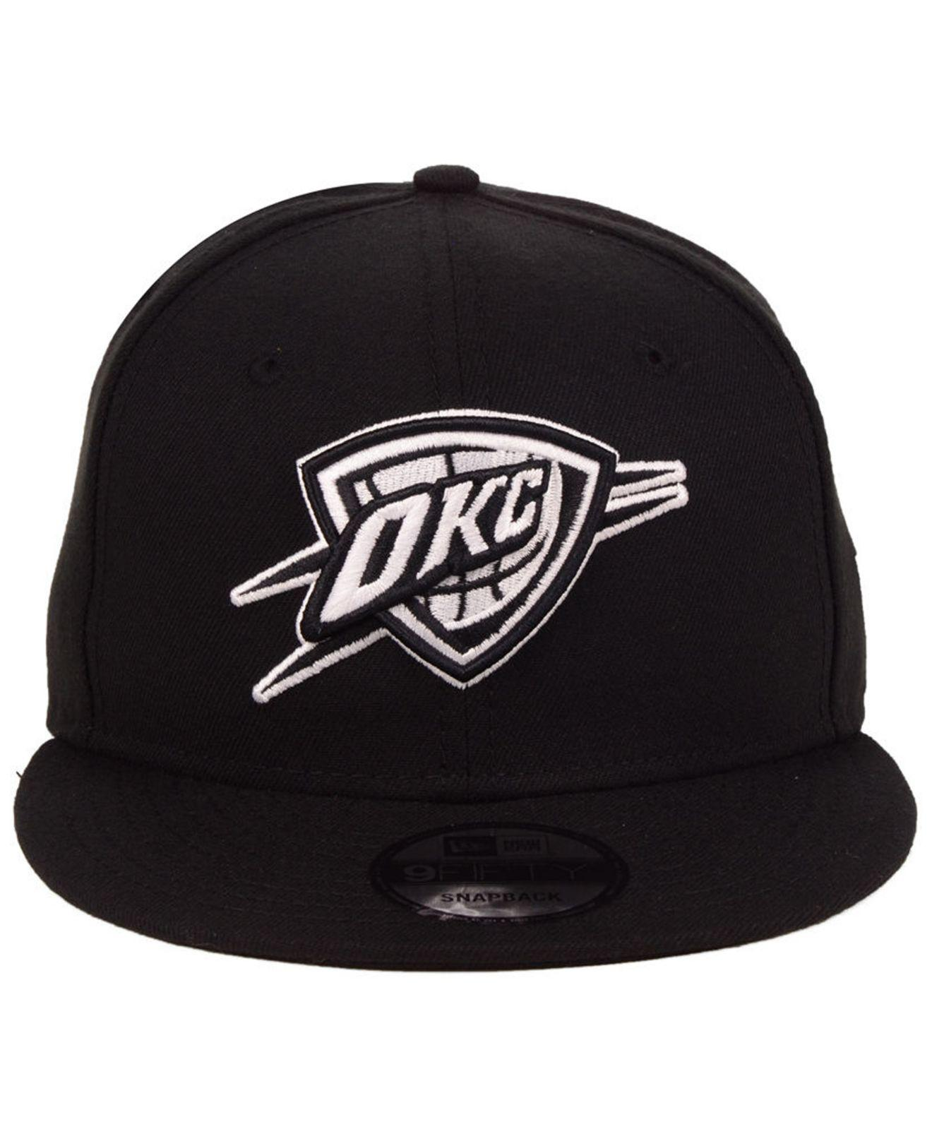 check out 2acaf 07e31 ... usa lyst ktz oklahoma city thunder black white 9fifty snapback cap in  black for men 83446