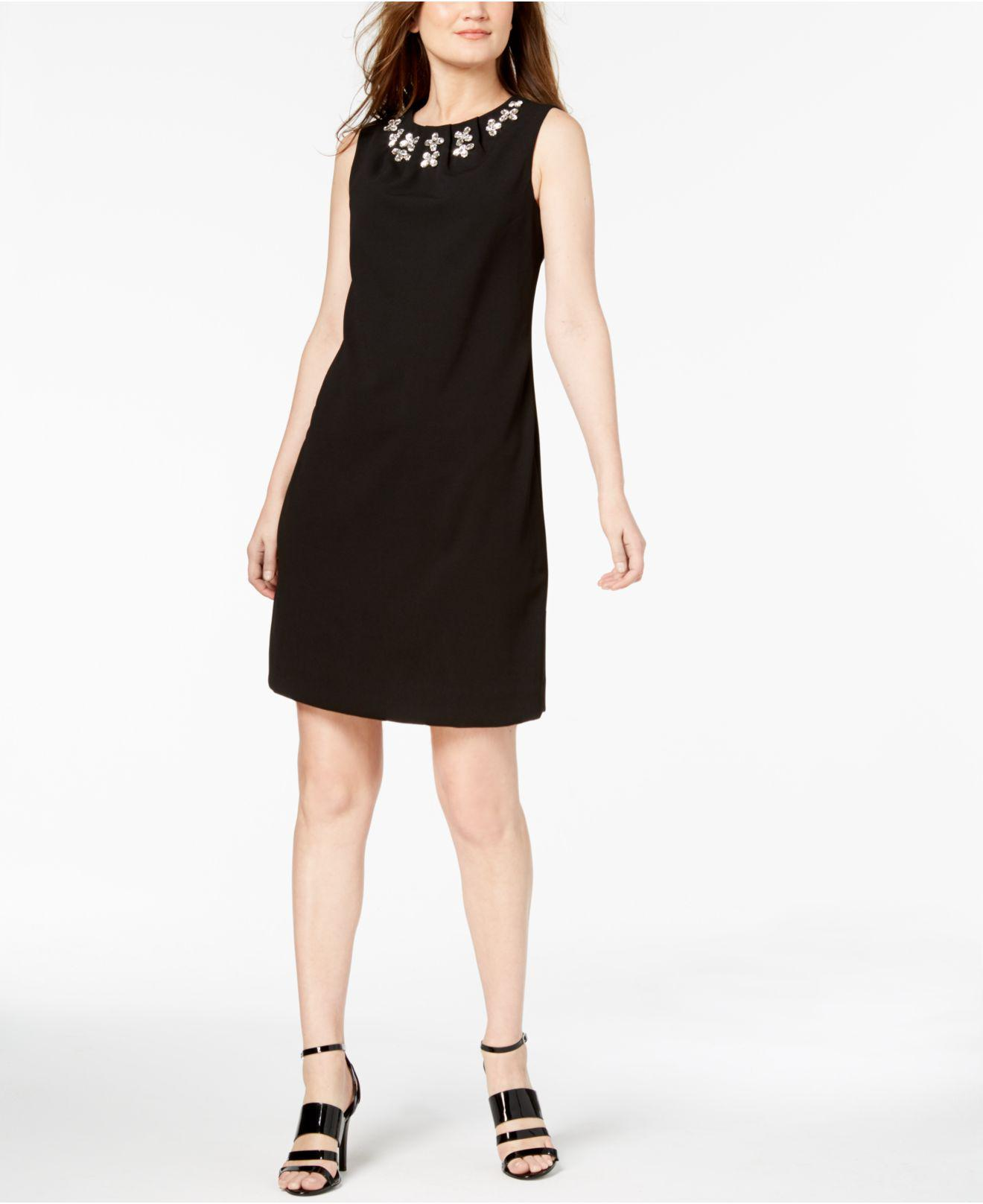 33c7ce16 Lyst - Calvin Klein Jewel-neck Sleeveless Sheath Dress in Black