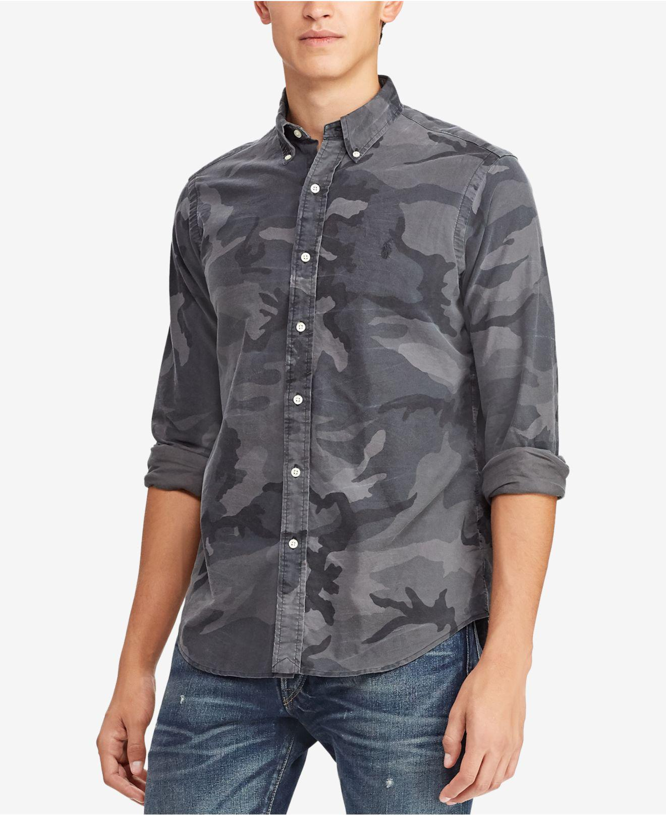 8d2a6c9e18ef Polo Ralph Lauren. Men s Gray Camouflage-print Classic Fit Button-down Shirt