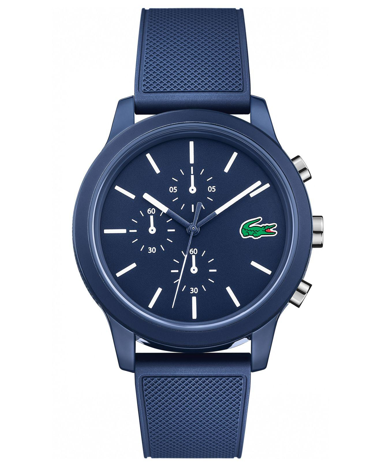 Lacoste. Men's 12.12 Chronograph Watch With Blue Silicone Strap