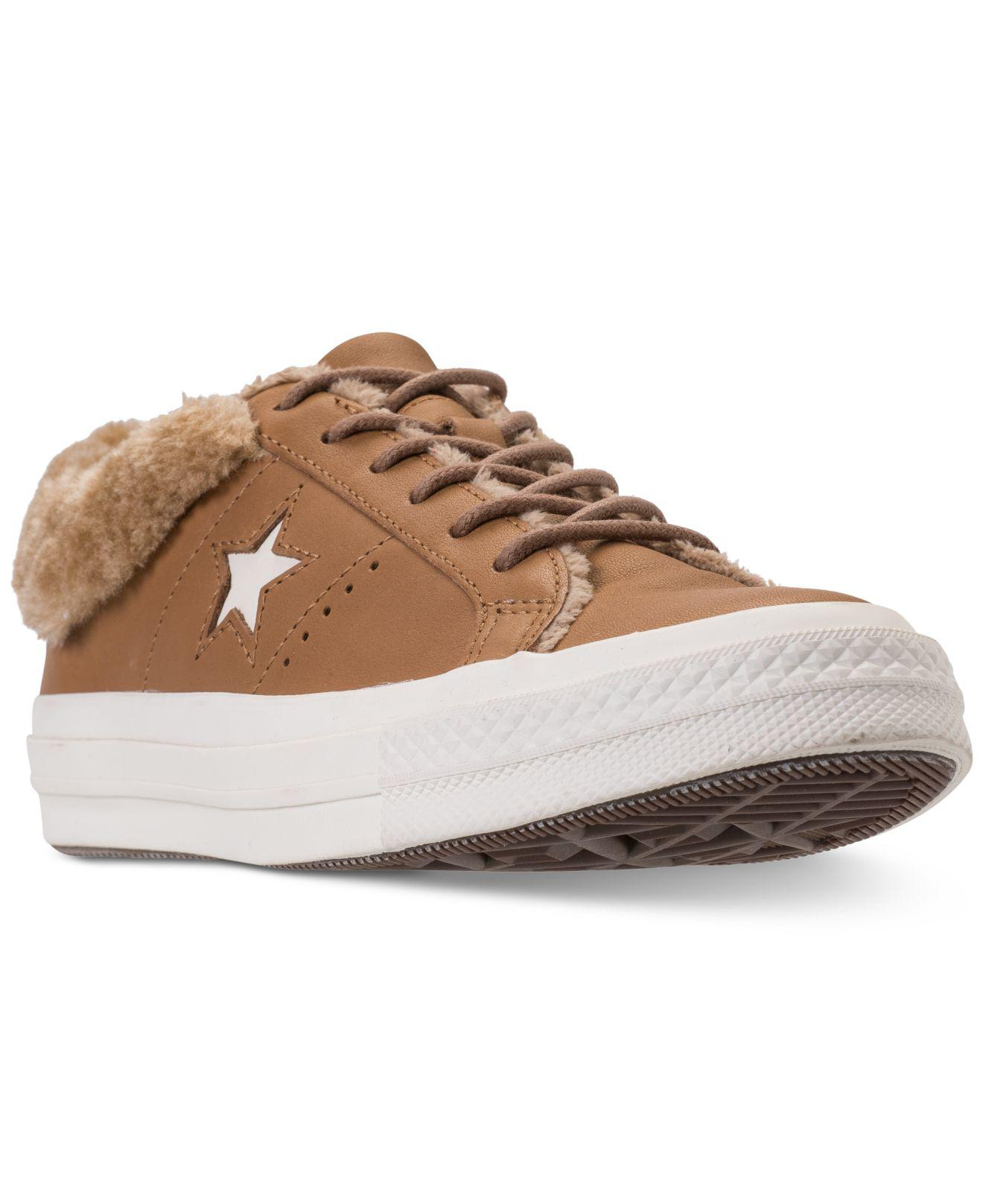 de1f608f9406 Lyst - Converse One Star Ox Faux Fur Casual Sneakers From Finish ...