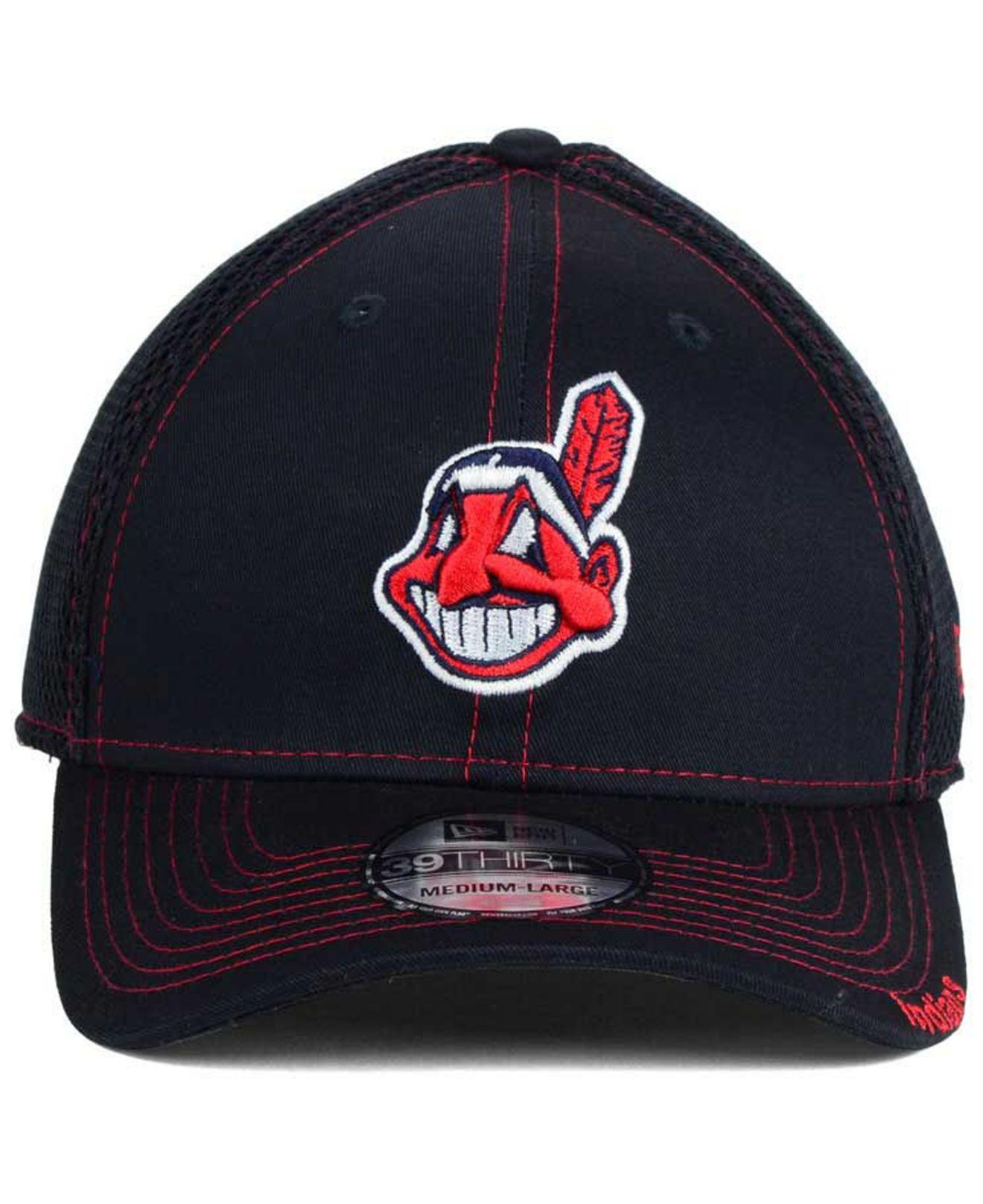 new concept 99b10 b4af8 ... canada lyst ktz cleveland indians core neo 39thirty stretch fitted cap  in blue for men adc55