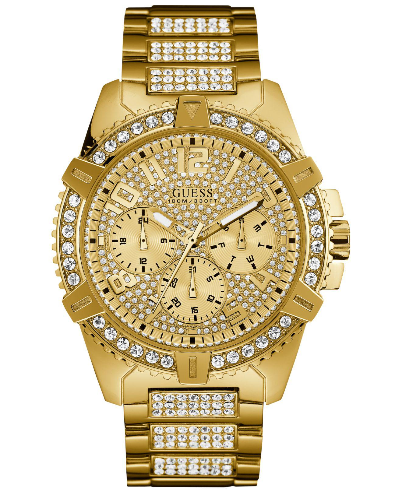 pink tone in watch bracelet s women accessories crystal gold metallic dkny glitz product watches rose lyst gallery
