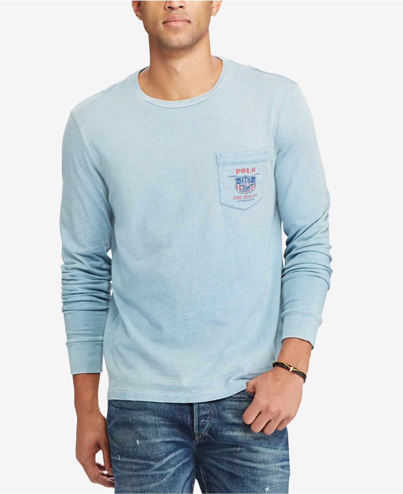 d4a5f5b67672 Polo Ralph Lauren Men's Custom Slim Fit Long-sleeve Cotton T-shirt ...
