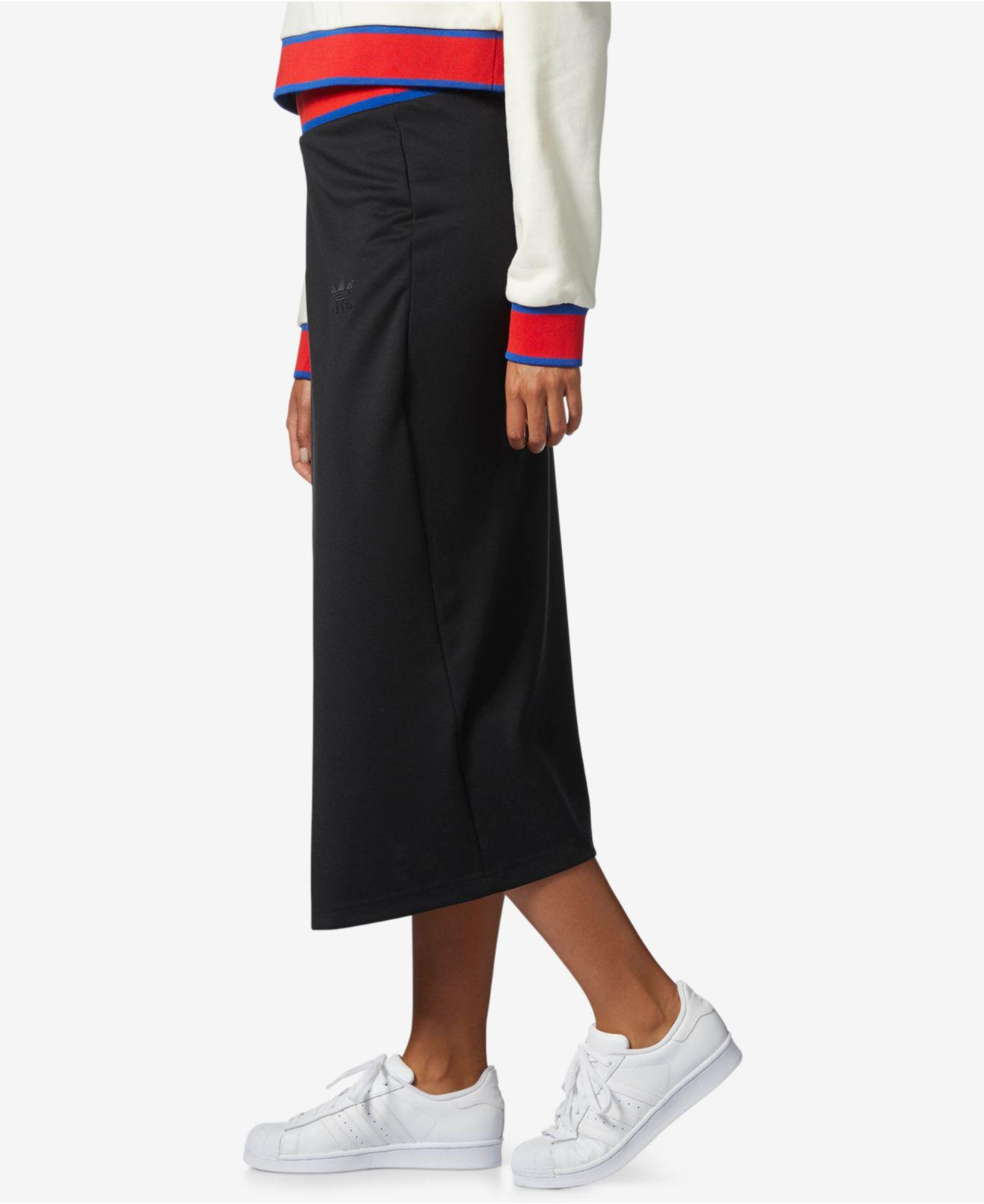 82944e74cdeb5c adidas Originals Embellished Arts Faux-wrap Skirt in Black - Lyst