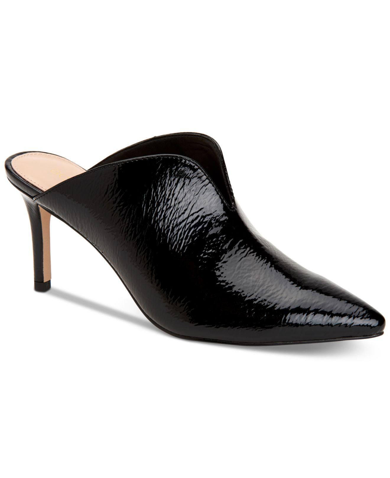 Malena V-Cut Patent Leather Mules fcRR17