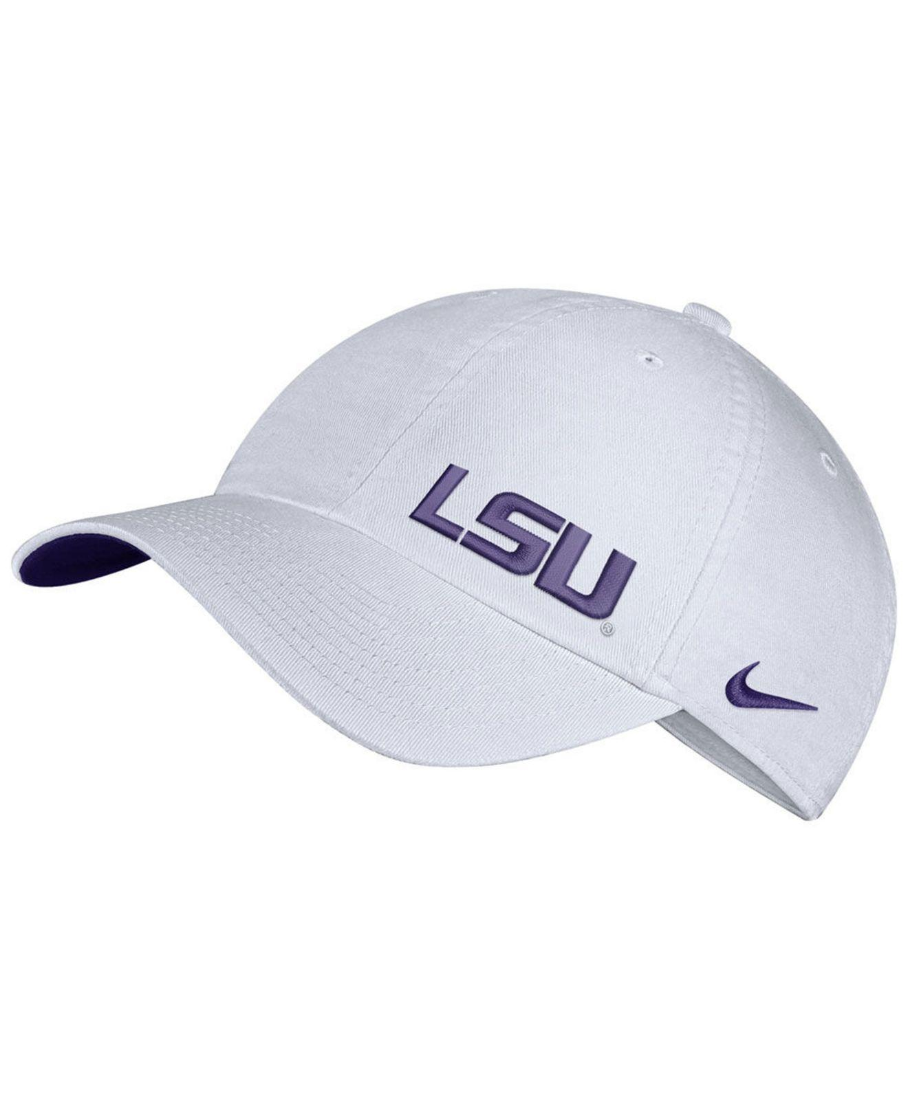 106374df3cdc43 Lyst - Nike Lsu Tigers H86 Offset Strapback Cap in White