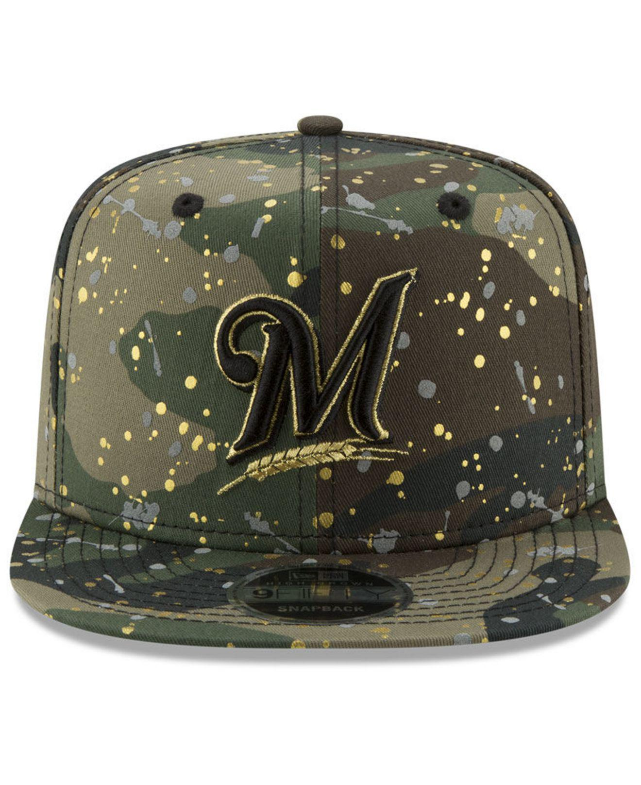 premium selection 3f289 c1f6a Lyst - Ktz Milwaukee Brewers Camo Spec 9fifty Snapback Cap in Green for Men