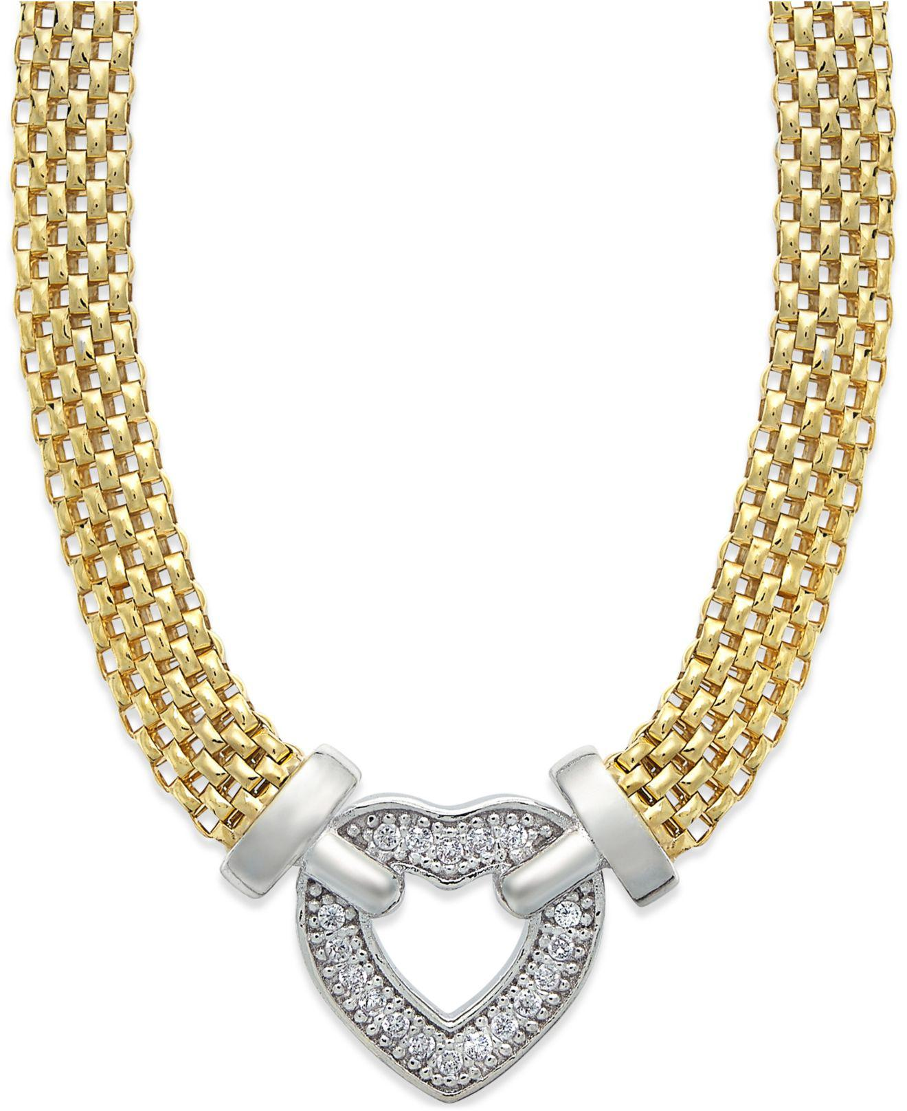 daf147289 Macy's. Women's Metallic Diamond Heart Necklace In 14k Gold Vermeil And  Sterling Silver (1/10 Ct. T.w.)
