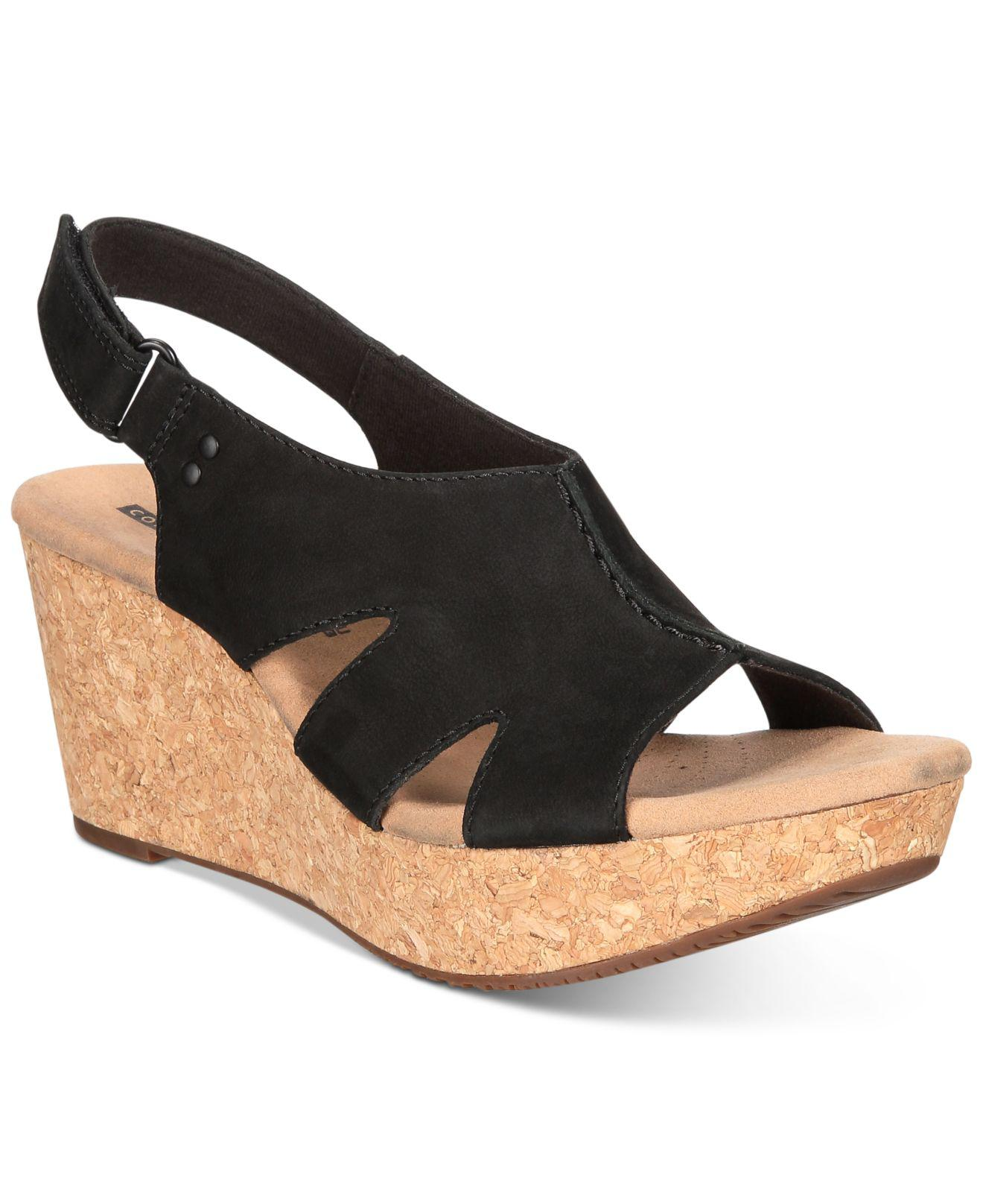 65755199725f Clarks Women s Annadel Bari Wedge Sandals in Black - Lyst