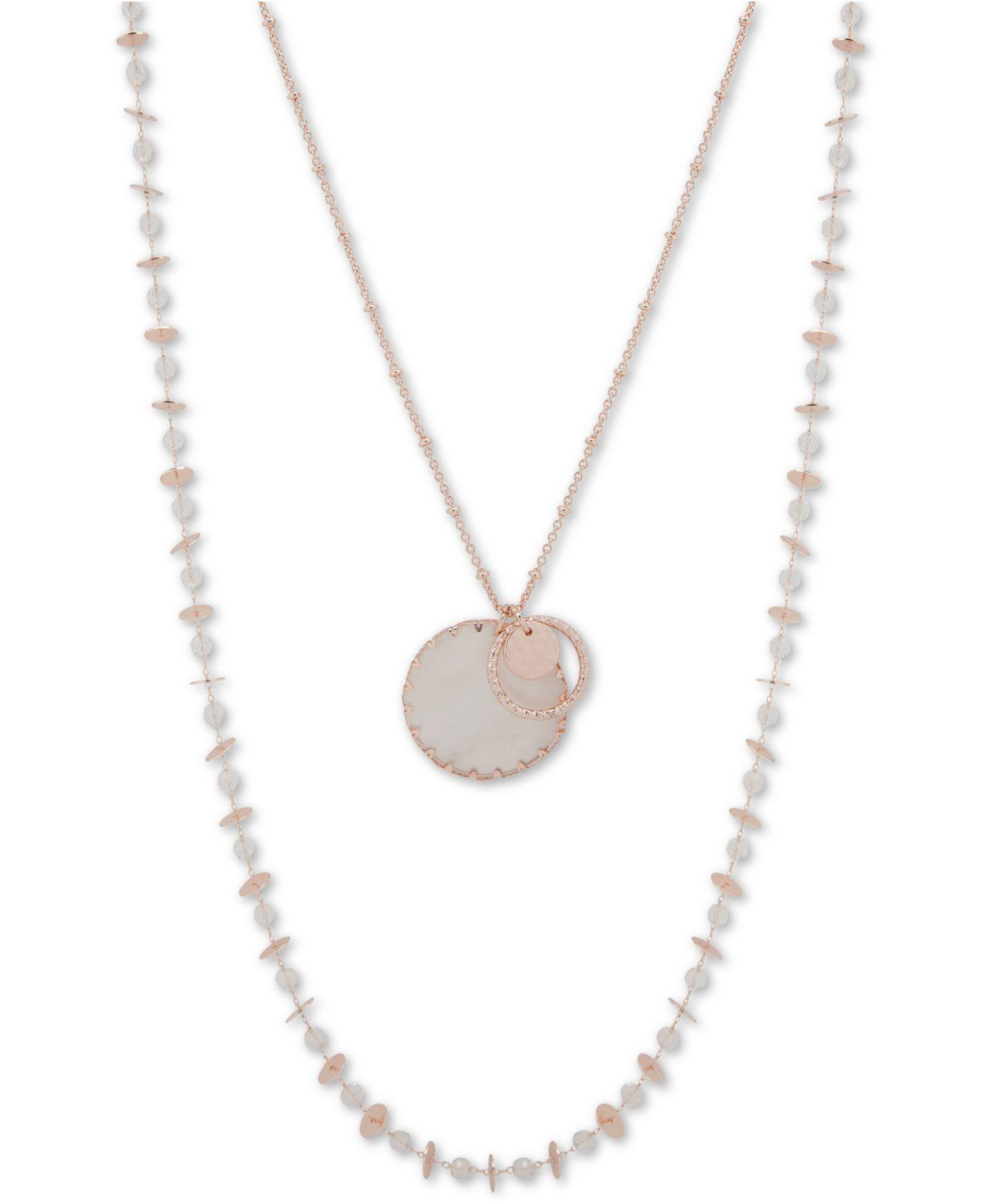 4f19be0634619 Lonna & Lilly Gold-tone Beaded Two-row Pendant Necklace, 36