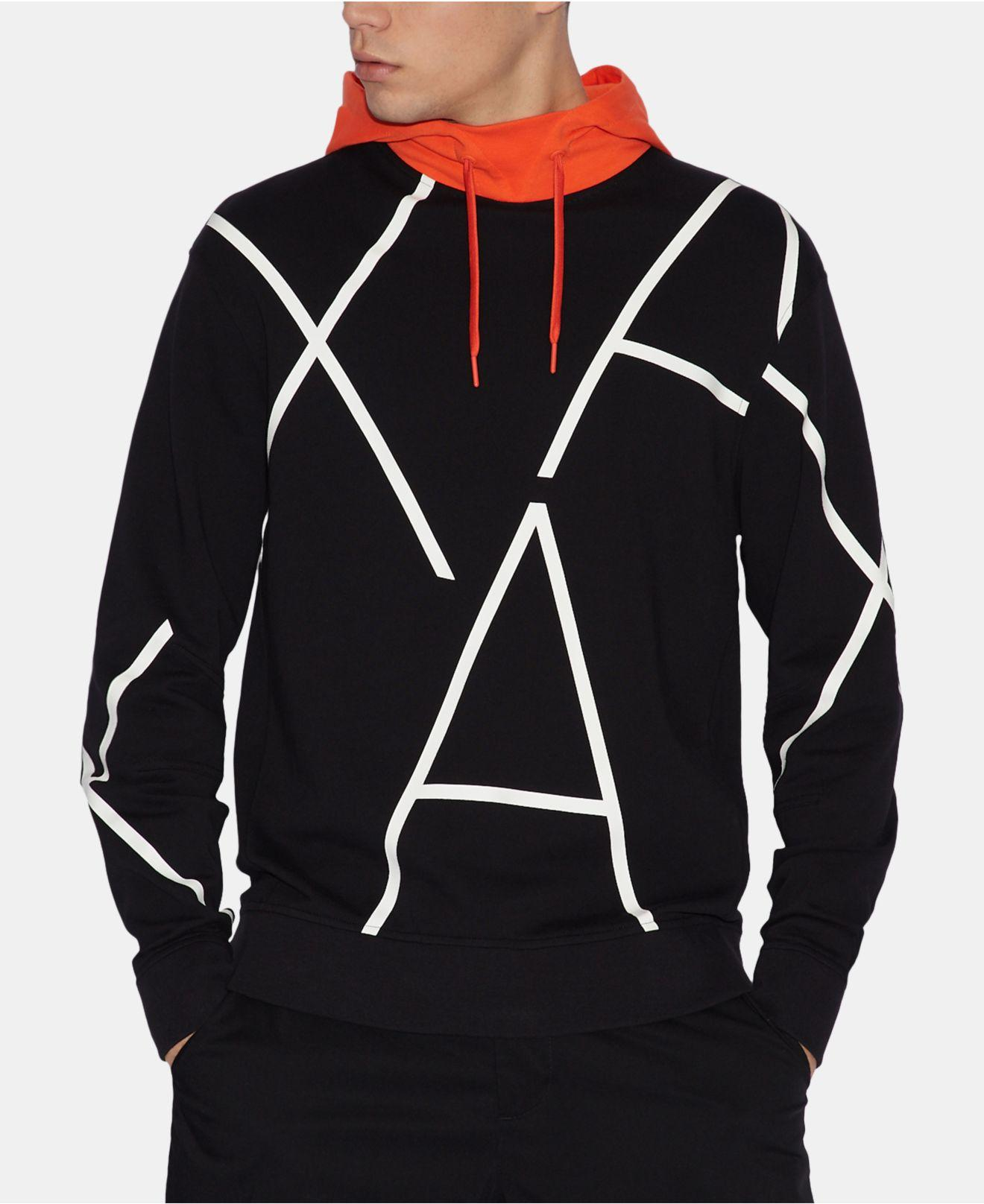 889f98735d60db Armani Exchange - Black Logo Hoodie for Men - Lyst. View fullscreen
